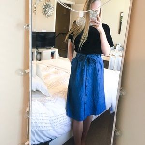 & Other Stories Button Midi Denim Tie Skirt